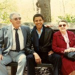 Barack Obama with his maternal grandparents Madelyn and Stanley Dunham in New York, where he was attending Columbia University in 1982.