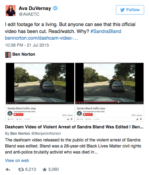 Sandra Bland Dashcam Video Arrest Appears To Be Edited -Ava DuVernay Agrees